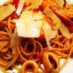 Спагети със скариди и бейби октоподчета