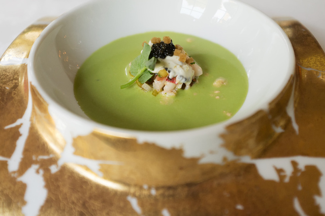 Крем супа от грах с броколи и пармезан