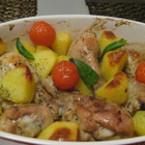 Пилешки бутчета с картофи и чери домати