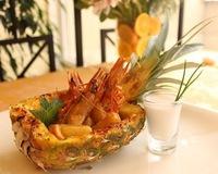 Скариди с ананас и кашу