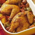 Печено пиле с пресни картофи