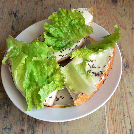 Large sandvichi s krem sirene i kim