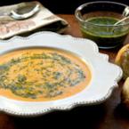 Крем супа от моркови с песто и джинджифил