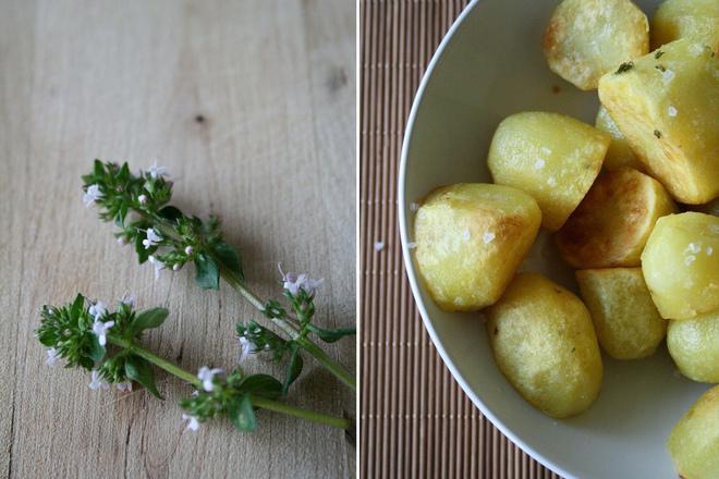 Печени картофи с морска сол и мащерка