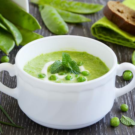 Large krem supa ot zelen bob s grah