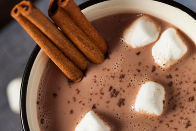 Мляко с какао, канела и Маршмелоу
