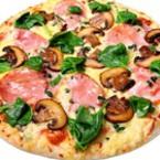 Пица с гъби, шунка и спанак