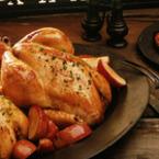 Печено пиле с масло и магданоз