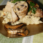 Свински руладини с гъби и пюре от кестени