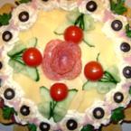 Солена торта с печени маслени блатове